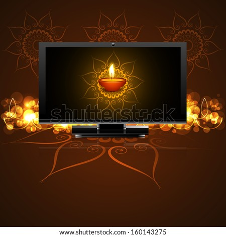 Beautiful happy diwali led tv screen celebration background vector - stock vector