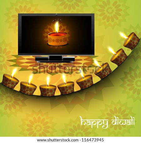Beautiful happy diwali led tv screen celebration colorful background - stock vector