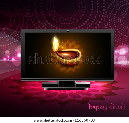 Beautiful happy diwali led tv screen celebration colorful design - stock vector
