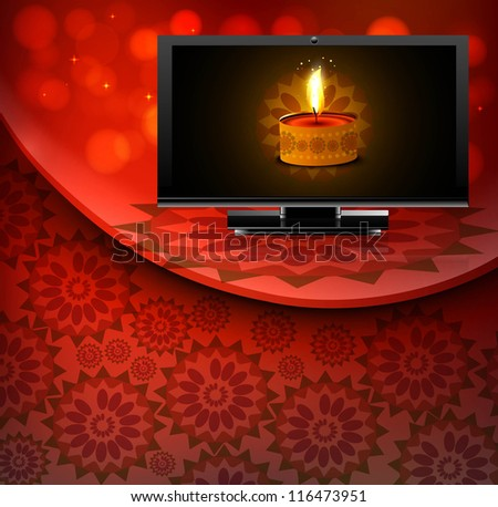 Beautiful happy diwali led tv screen celebration red colorful wave background - stock vector