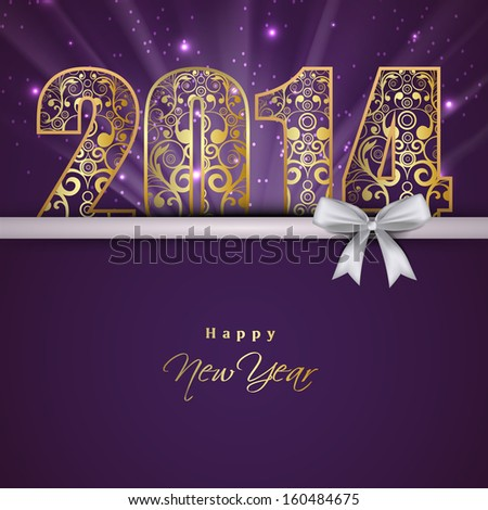 Beautiful Happy New Year 2014 celebration background with floral decorated golden text and white ribbon on purple background.  - stock vector