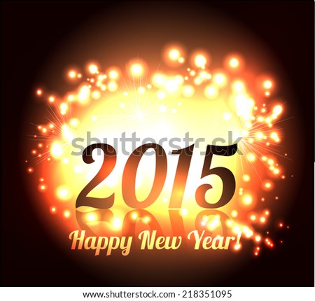 Beautiful Happy New Year 2015 golden celebration background vector  - stock vector