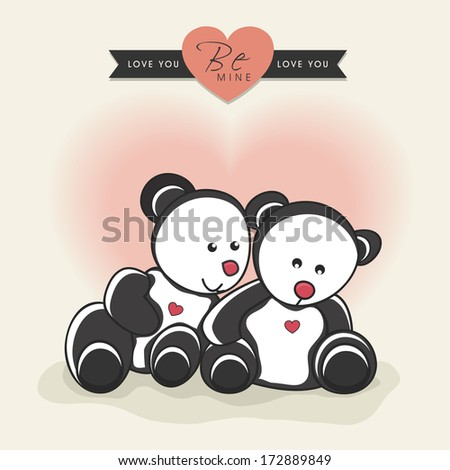 Beautiful Happy Valentines Day concept with teddy bears on vintage background.