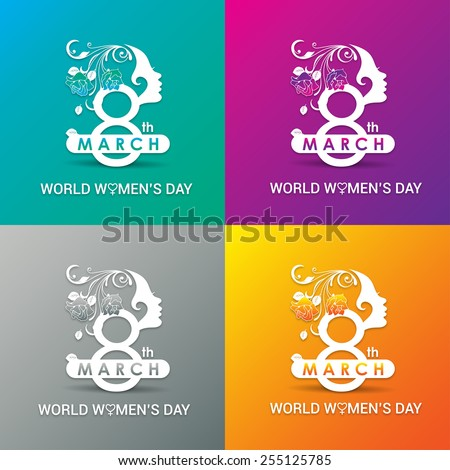 Beautiful Happy Women's Day greeting card, gift card wallpaper on Pink background, green background, orange background and gray background with Women face 8th march logo and typography