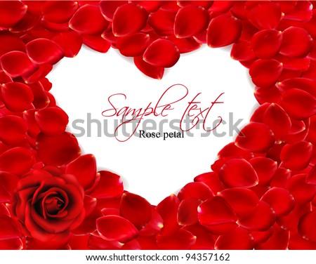 Beautiful heart of red rose petals. Vector - stock vector