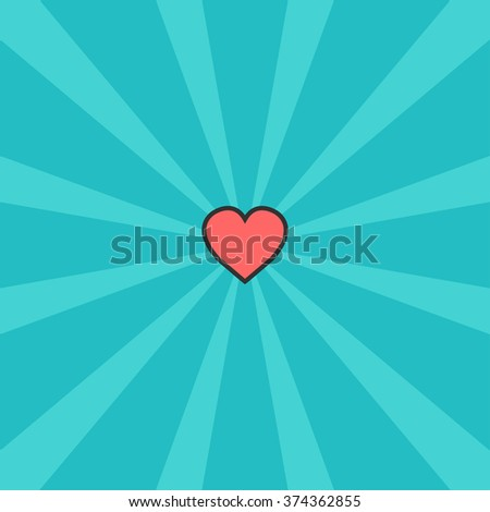 Beautiful heart pattern circle. flat color. vector background - stock vector