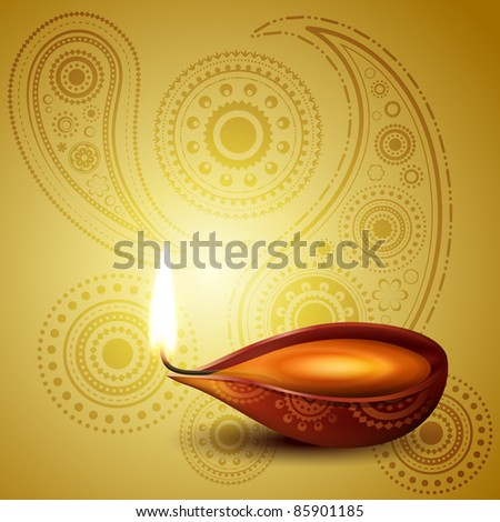 beautiful hindu diwali festival vector art - stock vector