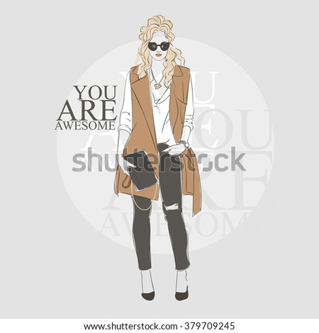Beautiful  hipster young blonde women in a fashion jacket. Hand drawn illustration. - stock vector