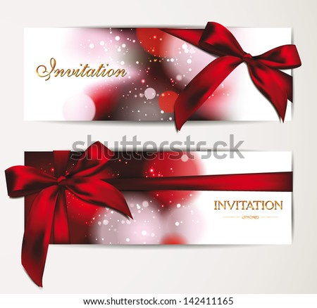 Beautiful holiday banners with copy space and red ribbon - stock vector