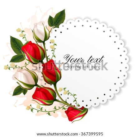 Beautiful holiday card with red and white roses. Vector. - stock vector