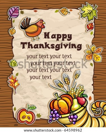 Beautiful Holiday paper arrangement with the space for your own text on the wooden background. Horn of Plenty, pumpkin, apple, autumn leaves, grapes, apple, pear. - stock vector