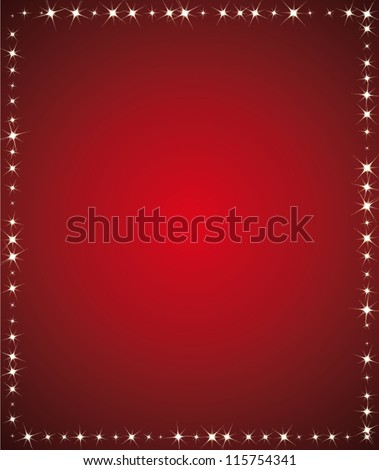 Beautiful holidays background. Red and starry vector frame for greeting card or holidays communication. - stock vector