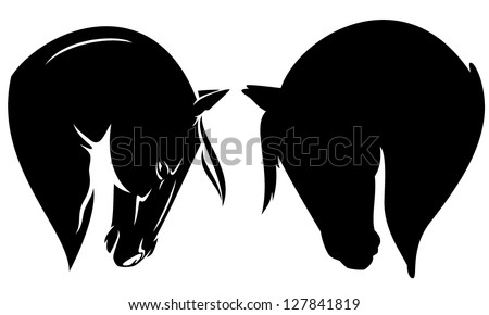 beautiful horse head profile - black vector outline and silhouette - stock vector
