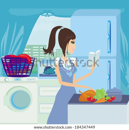 beautiful housewife cooking vegetables with cookbook in the kitchen  - stock vector