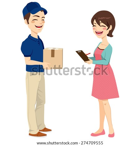 Beautiful housewife woman receiving mail package from delivery man signing receipt - stock vector