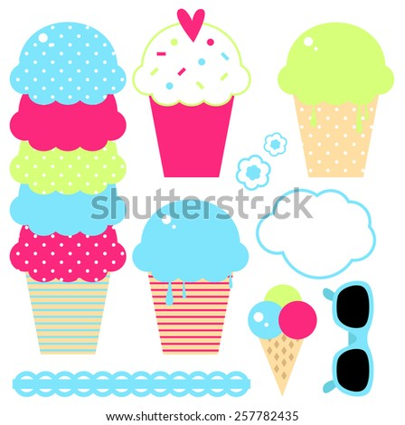 Beautiful ice cream collection in crazy colors. Vector Illustration - stock vector