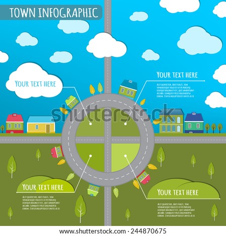 Beautiful illustration of abstract eco town infographics. Vector image.