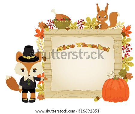Beautiful illustration of fox pilgrim close to signboard with many leaves and figments. Squirrel and roasted turkey. Eps 10 - stock vector