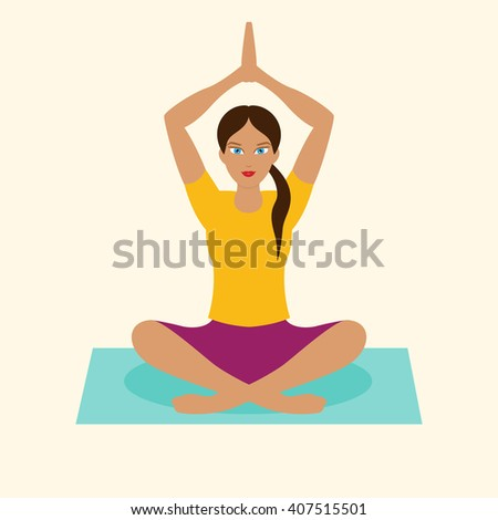 beautiful illustration of yoga girl, yoga poses, yoga woman