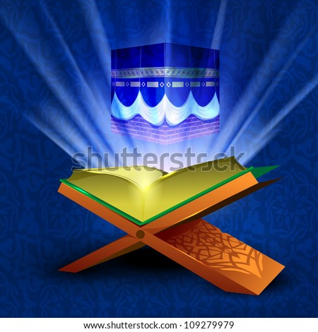 Beautiful illustration Qaaba Sharif or Qaba with holy book Quran and moon on modern abstract blue background. EPS 10. Vector illustration. - stock vector