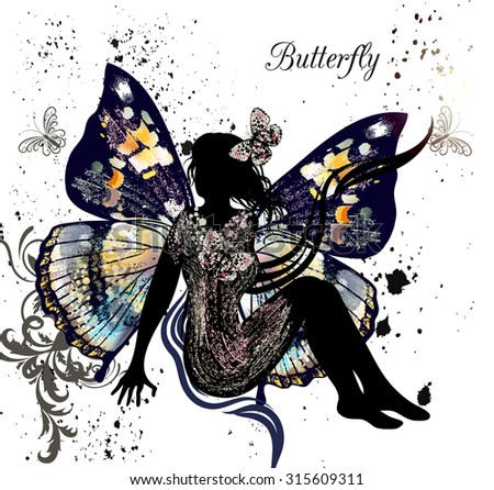 Beautiful illustration with girl butterfly sitting and imagining something as butterflies fly around her - stock vector