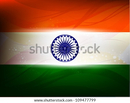 Beautiful independence day flag vector illustration with shiny color.