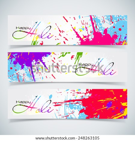 Beautiful Indian festival Colorful Happy Holi celebrations with colors splash on grungy banner or header Design for Happy Holi vector illustration design and abstract background... - stock vector