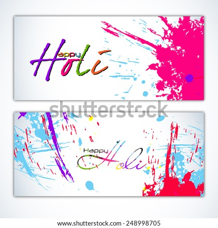 Beautiful Indian festival Colorful Happy Holi celebrations with colors splash on grungy greeting card Design for Happy Holi vector illustration design and abstract background... - stock vector