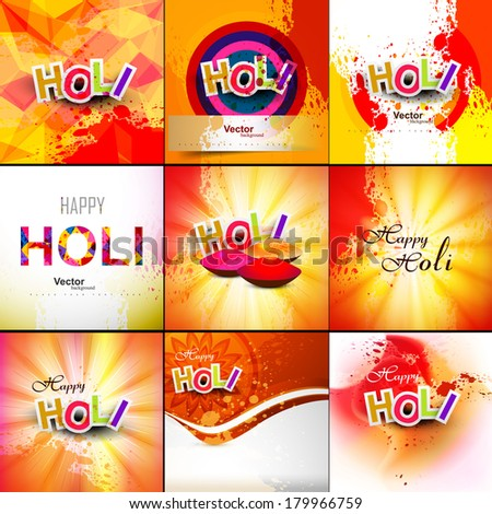 Beautiful Indian festival grunge colorful collection celebration happy holi set background vector illustration - stock vector