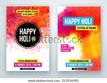 Beautiful Indian festival Happy Holi celebrations. Background for banner, card, poster, poster - stock vector