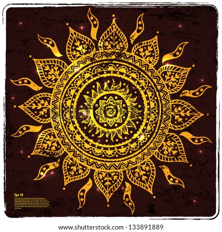Beautiful Indian gold ornament can be used as a design element, invitation or greeting card - stock vector