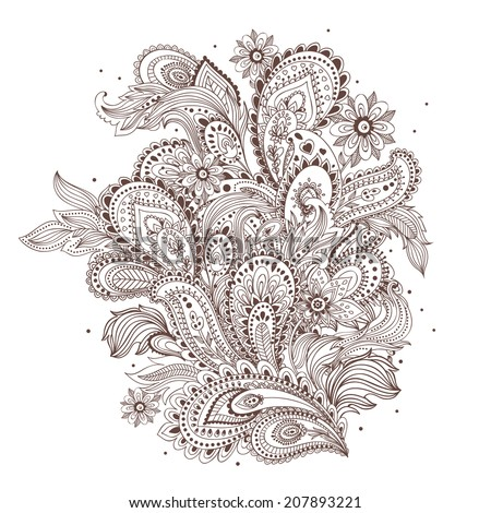 Beautiful Indian paisley ornament for your business - stock vector