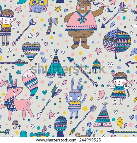 Beautiful indian seamless pattern in vector. Cute cartoon background in cold colors - stock vector
