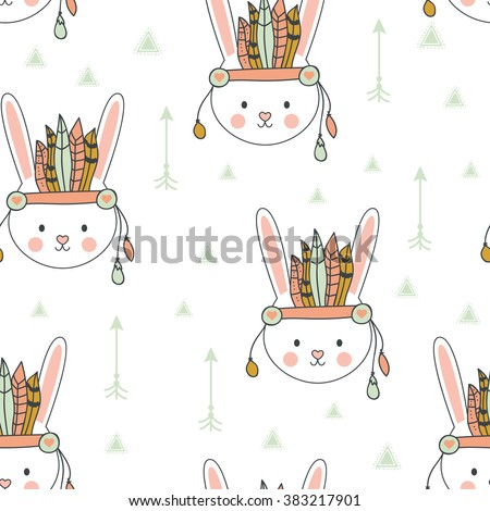 Beautiful indian seamless pattern of bunny with feathers in vector for children. Cute cartoon background. Vector design for fabric and decor children room or clothes - stock vector