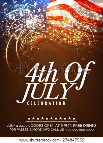 Beautiful invitation card decorated with fireworks on waving national flag background for 4th Of July, American Independence Day celebration. - stock vector