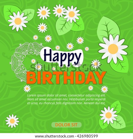 Beautiful invitation card design decorated with colorful flowers, leaves and branches for Birthday Party celebration.
