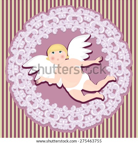Beautiful invitation card with Angel - stock vector