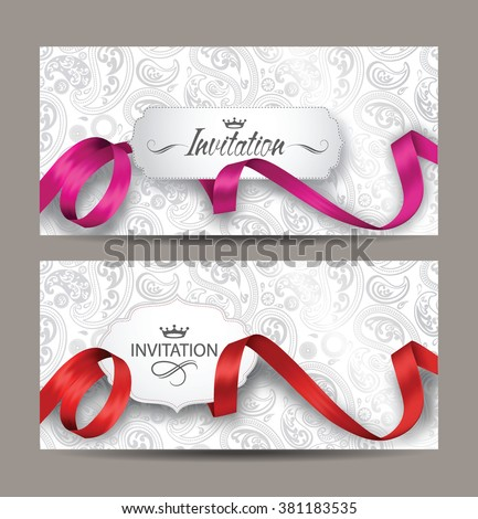 Beautiful invitation cards with red and pink silk ribbons and floral background - stock vector