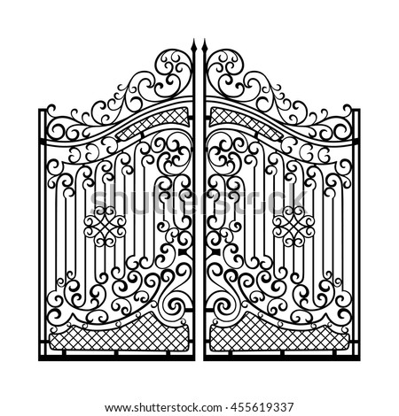 Beautiful Iron Ornament Gates Stock Vector 455619337