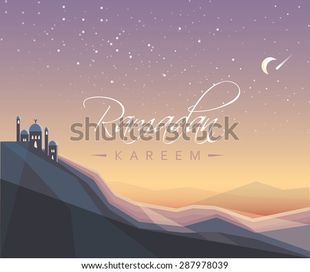 beautiful islamic Ramadan Kareem festival greeting card vector illustration with mosque under the moonlight sky filled with stars - stock vector