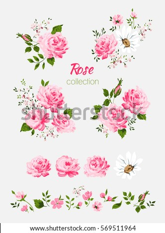 Beautiful isolated pink flowers on white stock vector 569511964 beautiful isolated pink flowers on the white background set of different floral design elements mightylinksfo Choice Image