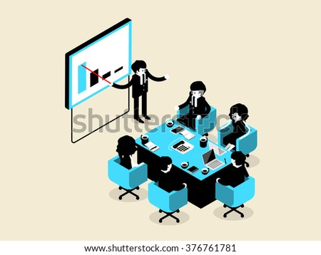 beautiful isometric design of business people male and female in meeting and presentation situation, business isometric design concept - stock vector