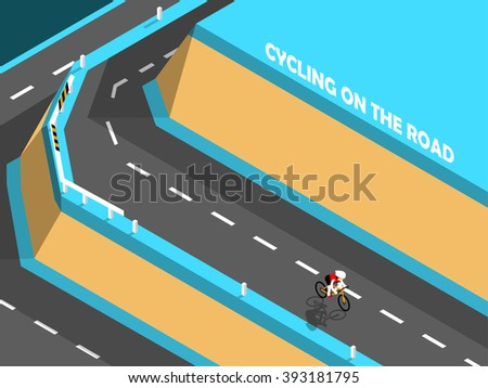 beautiful isometric design of cycling on the road, biking on the mountain. - stock vector