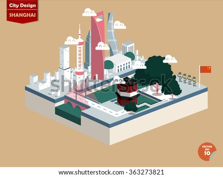 beautiful isometric design vector of Shanghai city China,Shanghai city design in perspective,cute design of Shanghai city - stock vector
