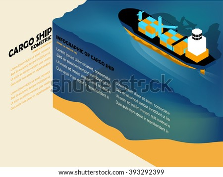 beautiful isometric info graphic design of cargo ship on the sea with copy space - stock vector