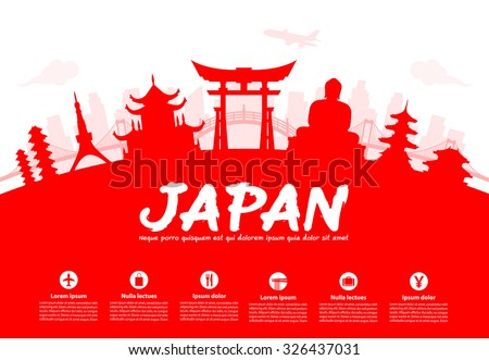 Beautiful Japan Travel Landmarks. Vector and Illustration. - stock vector