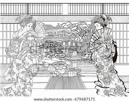 beautiful japanese coloring for adults coloring pages vector illustration - Japanese Coloring Pages