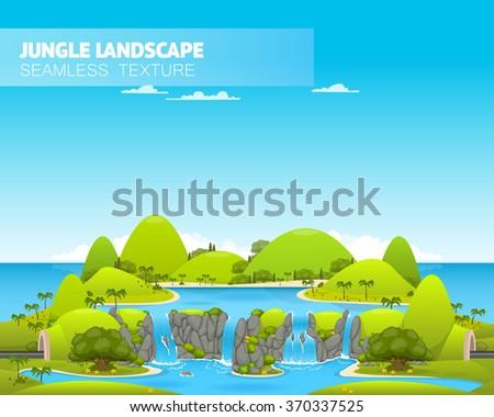 Beautiful jungle landscape. Vector illustration - stock vector