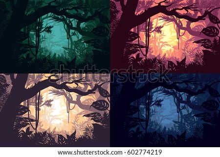 Beautiful jungle landscapes set with tropical forest sceneries in different colors and day time vector illustration