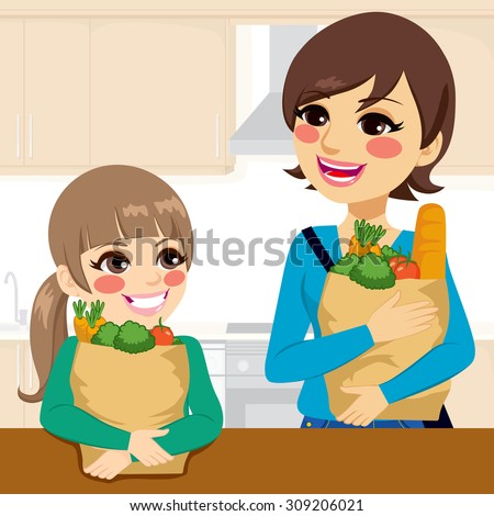 Beautiful kid daughter helping happy mother carrying groceries paper bags in kitchen - stock vector